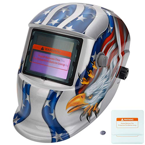 Z ZTDM Welding Helmet Welder Mask Solar Powered Auto Darkening Hood with Adjustable Wide Shade Range 4/9-13, Protective Gear, 2 Extra Lens & Battery for ARC MIG TIG (Silver Eagle)