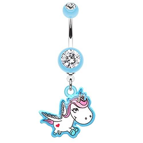Amazon Com Covet Jewelry Adorable Unicorn Belly Button Ring 14 Ga