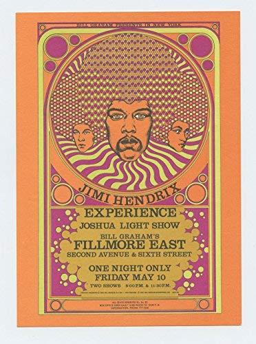 Bill Graham Fillmore East Postcard Jimi Hendrix 1968 May 10