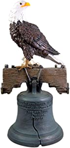 DWK Let Freedom Ring Bald Eagle on Philidelphia Liberty Bell Statue, 19 Inch