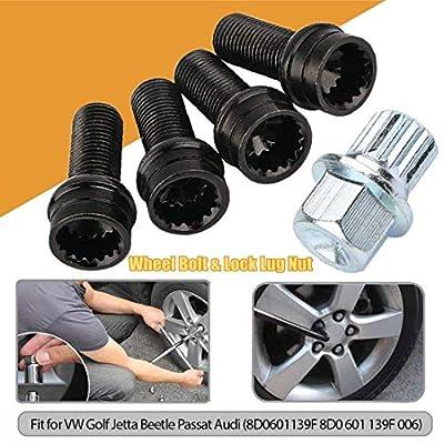 Qlhshop 5pcs/Set 14mm M14 Wheel Lug Bolt & Lock Lug Nut Fit for VW Golf Jetta Beetle Passat Audi(8D0601139F 8D0 601 139F 006): Automotive