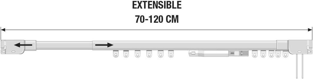 Accionamiento a cord/ón. STORESDECO Rieles para Cortinas Extensibles en Color Blanco con Ancho de hasta 390cm Riel Extensible met/álico 70 a 120 cm
