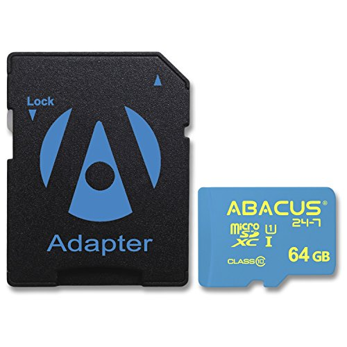 Abacus24-7 64GB micro SDXC Memory Card [SD Adapter] for Samsung Galaxy S9 Plus, S8, Note 8, 5, Active, Edge, A8+, A7, A5, C5, S5, J7 Prime, Note Edge, Galaxy Tab (Microsdhc Flash Card Model)