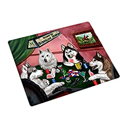 Home of 4 Siberian Huskies Dogs Playing Poker Large Stickers Sheet of 12