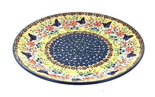 (Blue Rose Polish Pottery Blue Butterfly Dinner Plate )