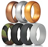 ThunderFit Silicone Rings, 7 Pack Wedding Bands for Men - 8.7 mm Wide (Gray. Dark Gray, Black, Camo, Bronze, Gold, Silver, 12.5-13 (22.2mm))