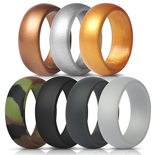 ThunderFit Silicone Rings, 7 Pack Wedding Bands for Men - 8.7 mm wide (Gray. Dark Gray, Black, Camo, Bronze, Gold, Silver, 9.5-10 (19.8mm)) -