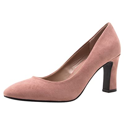Cambridge Select Women's Closed Almond Toe Slip-On Flared Sculptural Heel Pump | Shoes