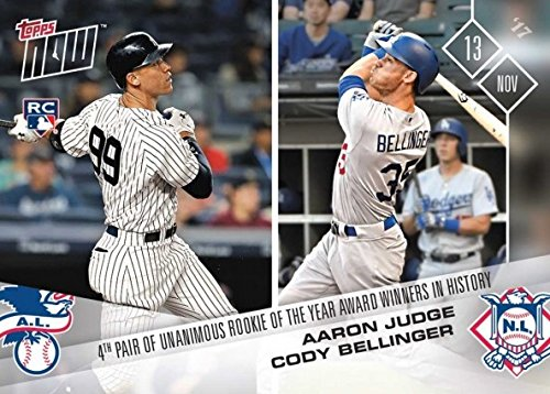 - 2017 Topps Now Baseball #OS-66 Aaron Judge and Cody Bellinger Rookie Card - 4th Pair of Unanimous Rookie of the Year Winners in History - Only 3,312 made!
