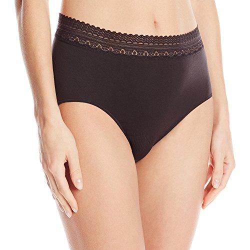 Bali Women's Comfort Revolution Seamless Brief Panty,Black Lace,6/7
