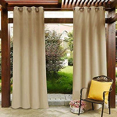 Häufig Clothink Outdoor Vorhänge mit Ösen 132x215cm Beige - Winddicht EU67