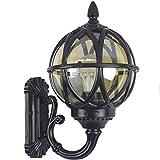 IJ INJUICY Antique Retro Exterior Outdoor Waterproof Wall Lantern Lamp, Oil Rubbed Seeded Glass Wall Light, Villa Balcony Courtyard Garden Corridor Aisle Wall Sconce (Black, Dia. 10.8 Inch)