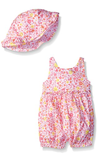 ABSORBA Baby-Girls Floral Romper with Hat, Pink, 24 Months