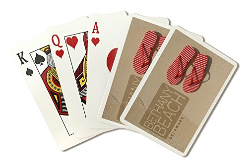 Bethany Beach, Delaware - Red Flip Flops in Sand (Playing Card Deck - 52 Card Poker Size with Jokers)