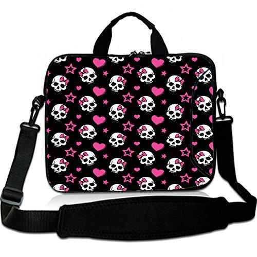 12 Inches Laptop Shoulder Bag Briefcase Colorful Skulls Waterproof Neoprene Laptop Carrying Bag Sleeve for iPad Air 2/iPad Mini 2/iPad Mini 3/iPad Mini 4