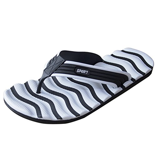 Muryobaoo Men's Summer Light Weight Flip Flops House Sandals Bath Slipper Anti-Slip White Black Size 10