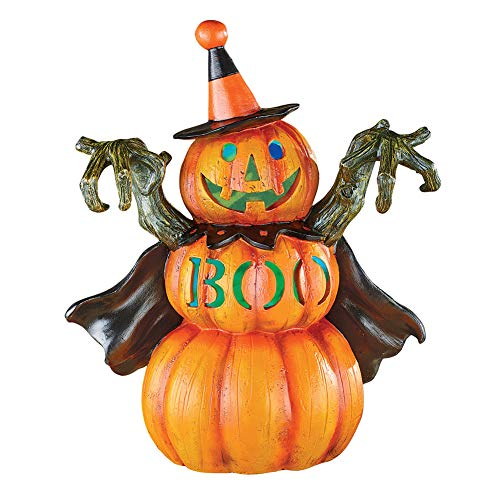 Spooky Color-Changing Lighted Boo Pumpkin Man in Witches Costume with The Word Boo Carved in The Front]()