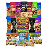 Healthy Mixed Bars & Nuts Snacks Gift Pack Raw & Delicious Nuts & Bars Party Mix, Crunchy & Nutritional Variety Nuts, Almonds, Cashews, Peanuts Variety Pack Bulk Care Package 30 Count