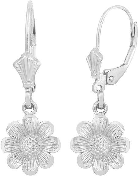 POPLYKE Sunflower Jewelry 925 Sterling Silver Sunflower Dangle Drop Earrings for Women Girls