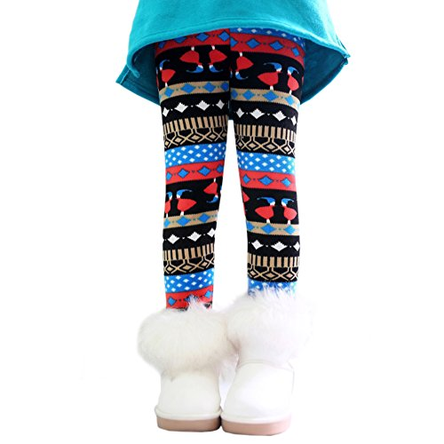 Girls Warm Leggings Fleece Lined Snowflake Color Pattern Trousers Pants, 04-L