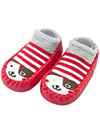 Iuhan 0-24Months Baby Boys Girls Cartoon Anti-Skid Baby Booties Sock Slipper Shoes