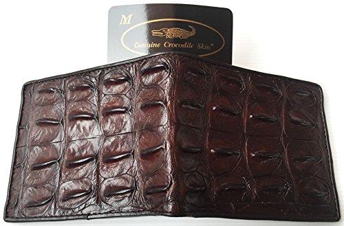 (Genuine Real Backbone Crocodile Skin Leather Man Bifold Dark Brown)