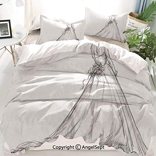Homenon Bridal Decor Duvet Cover Set King Size,Fairytale Ending of a Love Story Princess Sketchy Bride with Flowers,Decorative 3 Piece Bedding Set with 2 Pillow Shams