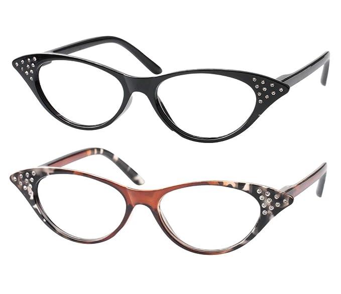 d374a8dfbd SOOLALA Womens Fashion Designer Rhinestone Cat Eye Magnifying Reading  Glasses