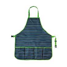 Ogrow High Quality Gardener's Tool Apron with Adjustable Neck & Waist Belts, Blue/White Striped, Medium