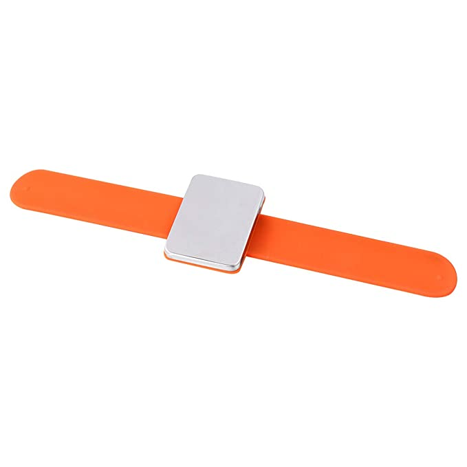 Healifty Magnetic Wrist Sewing Pincushion Pin Cushion Holder for Hair Clips Sewing Silicone Wrist Strap Bracelet for Barber Hair Pin Orange Blue