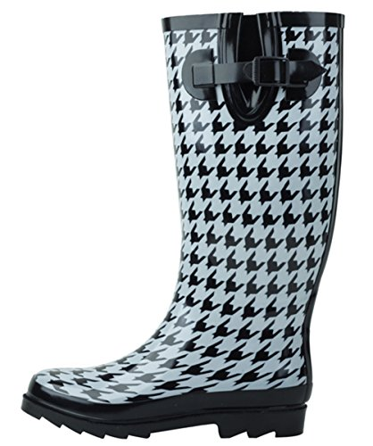 SBC Women's Rain Boots Adjustable Buckle Fashion Mid Calf Wellies Rubber Knee High Snow Multiple Styles (7 B(M) US, Houndstooth)