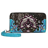 Camouflage Pistol Conchos Studded Cowgirl Western Style Country Purse Wrist Strap Women Wristlets Wallet (Turquoise)