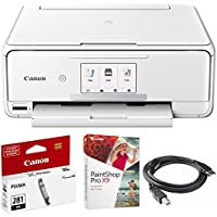 Canon PIXMA TS8120 Wireless Inkjet All-in-One Printer with Scanner & Copier White (2230C022) CLI-281 Black Ink Tank, Corel Paint Shop Pro X9 Digital Download & High Speed 6-foot USB Printer Cable