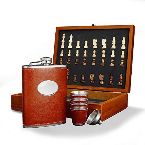 "GENNISSY 9.4"" Wooden Chess 8OZ Brown Leather Hip Flask Set - Stainless Steel Flasks With Funnel and 4 Cups Gift Box"