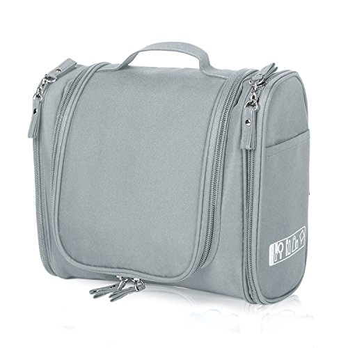 Cadtog Hanging Toiletry Bag for Travel, Cosmetic Kit, Large Essentials Organizer, Sturdy Hook, Makeup Bag, Waterproof for Men and Women, Grey