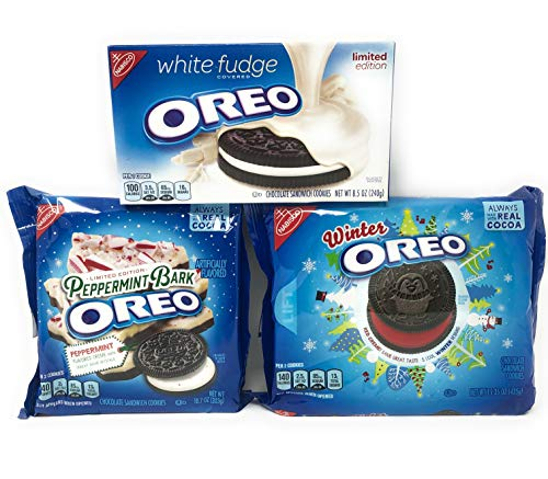 - Oreo Cookie Holiday Variety Pack - Peppermint Bark Oreos, Winter Oreos, and White Fudge Covered Oreos - 3 Boxes Total of Limited Edition Flavors