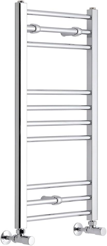 Hudson Reed Radiador Toallero Moderno y Plano con Diseño Vertical - Radiador de Escalera Contemporáneo para Baño - Acero Inoxidable Cromado - 200W - 800 x 400mm: Amazon.es: Hogar