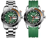 Jiusko Mens Deep Sea Analog Quartz Dive Watch Set - 300m Diver - Sapphire - Stainless Steel Bracelet and Green Rubber Strap Set - Green Dial - Big Day Date - 120LB16