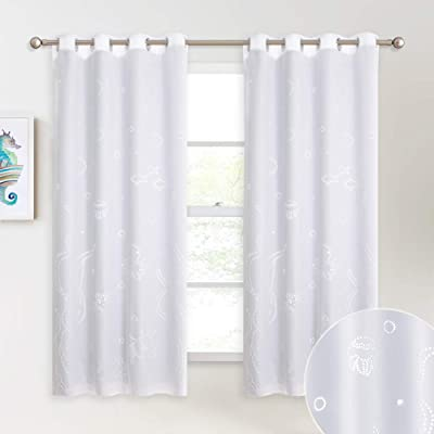 NICETOWN 100% Blackout Curtains with Sea World Cutouts Black Liners, Decorative Insulated Full Blackout 2-Layer Lined Drapes for Kitchen and Bedroom (White, 2 Panels, 52 inches W by 63 inches L): Home & Kitchen