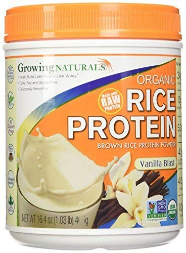 Growing Naturals, Organic Brown Rice Protein Isolate Powder, Vanilla Blast, 16.4 oz (465 g) by Growing Naturals