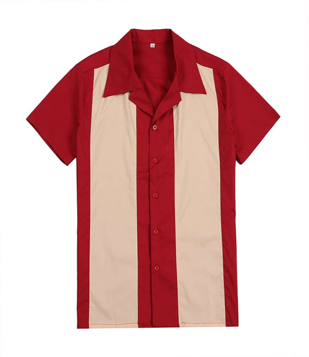 1950s Men's Shirt Styles – Dress Shirts to Casual Pullovers Mens Rockabilly Vintage 50s Clothing Short Sleeve Bowling Shirts Red Cream $24.71 AT vintagedancer.com