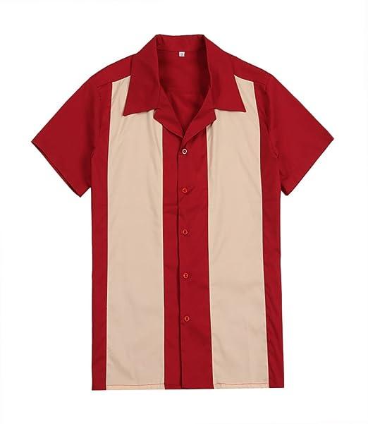 Candow Look camisa para hombre vintage de rockabilly americano para fiestas campamentos estilo hip hop de