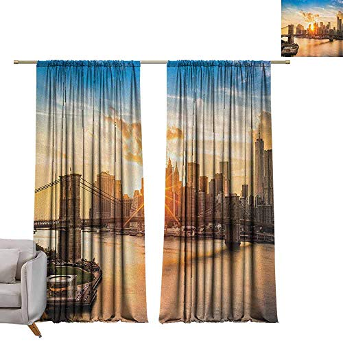 (berrly Blackout Curtains New York,Cityscape of Brooklyn Bridge and Manhattan Hudson River Center of Culture Photo, Multicolor W84 x L108 Grommet Window Drapes)