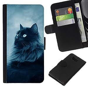 A-type (Majestic Forrest Gato Negro) Colorida Impresión Funda Cuero Monedero Caja Bolsa Cubierta Caja Piel Card Slots Para Samsung ALPHA G850