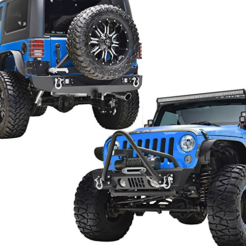 E-Autogrilles-07-17-Jeep-Wrangler-JK-Stinger-Stubby-Front-Bumper-with-OE-Fog-Light-Rear-Bumper-with-Tire-Carrier-51-037451-0315L