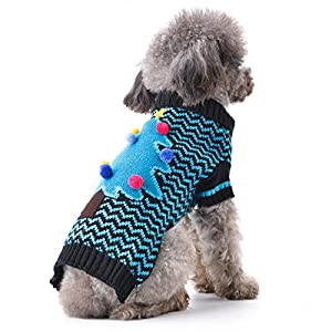 """ABRRLO Winter Dog Sweater,Christmas Tree Holiday ugly Puppy Pet Dogs Sweaters Xmas New Year Doggies Jumper sweater,Pet Clothes for Small Medium Dog and Cat XS S M L XL (M(Chest 17.32""""))"""