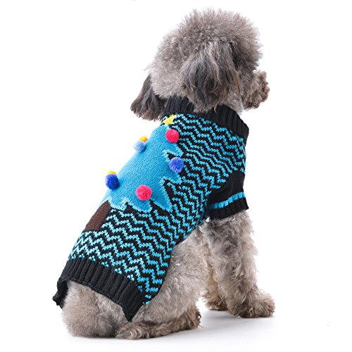ABRRLO Winter Dog Sweater,Christmas Tree Holiday ugly Puppy Pet Dogs Sweaters Xmas New Year Doggies Jumper sweater,Pet Clothes for Small Medium Dog and Cat XS S M L XL (M(Chest (Small Dog Jumper)