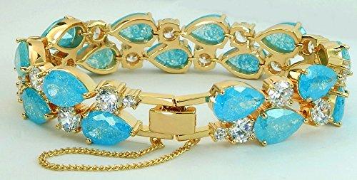 Turquoise IMPERIALE-Fini or 18 carats Turquoise de Swarovski Elements de couleur bleu de Bracelet en cristaux