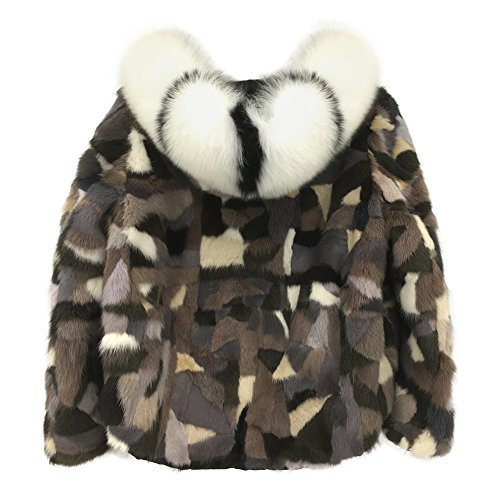 MINGCHUAN Mink Fur Hooded Coat Jacket Women's Winter Warm Outwear Zipped Overcoat With Fox Fur Collar (Halloween Costumes Using Normal Clothes)