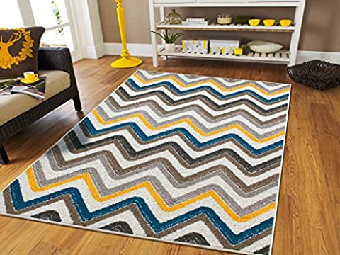 New Fashion Luxury Chevron 5x8 Large Rugs For Living Room Cheap Gray Cream Blue Yellow Brown Washable Zig Zag Floor Carpet Blues Modern Abstract Nice Rug For Dining, 5x8 (Yellow Grey Blue Area Rug)